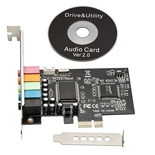HXHLWN PCIe Sound Card, 5.1 Internal Sound Card for PC Windows 10 8 7 with Low Profile Bracket, 3D Stereo PCI-e Audio Card, CMI8738 Chip 32/64 Bit Sound Card PCI Express Adapter