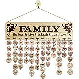 Calendario de madera para colgar en la pared, con 100 discos de madera, manualidades de madera para la familia y amigos, recordatorio de cumpleaños, decoración de la pared del hogar