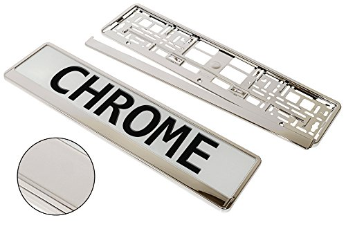 A PAIR!!! 2 x SUPERB QUALITY & CHROME APPEARANCE Car Registration License Number Plate UNIVERSAL Surrounds Holders Frames - BARGAIN !!!