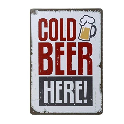 Ultnice Vintage Metall Post Bar Schilder Plauge Blechschild Werbung für Home Shop Pub Wanddekoration, Cold Beer Here