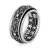 Beydodo 925 Silber Ring Herren Drehbar Buddhist Mantra Vajra Partnerring Männer Ring Silber Gr.62 (19.7)