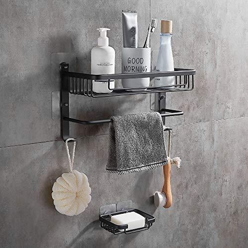 GERUIKE Shower Shelves Bathroom Shower Caddy Adhesive Bathroom Shelf Space Aluminum Organizer Kitchen Storage Basket Rack Corner Shelf Wall Mounted 2 Tier Silver