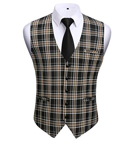 HISDERN Gilets Homme ¨¤ Carreaux Gilet Mariage Slim Fit Classique en Coton de Costume Formel Business Veste Gilet 5 Boutons pour Hommes Noir&marron L