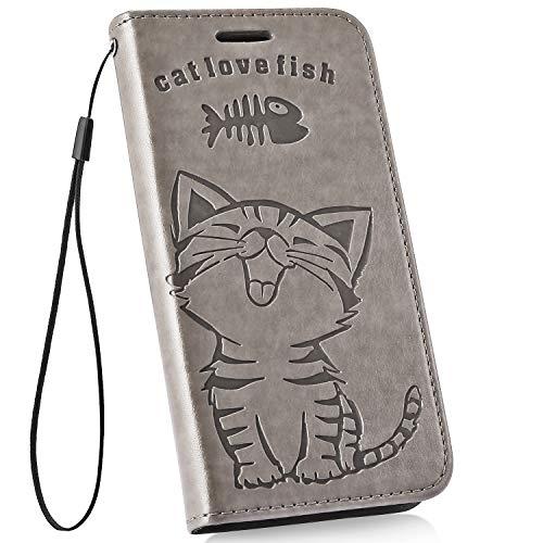 Ysimee kompatibel mit Samsung Galaxy S10e Hülle im PU Lede mit Kartenhalter und Faltbare Handy Tasche Wallet Flip Handyhülle mit Standfunktion Brieftasche Lederhülle Etui Klapphülle, Katze- Grau
