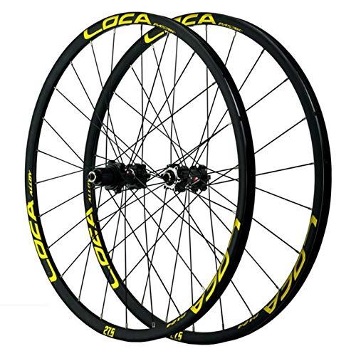 SJLA Ciclismo Wheels,Ruedas de Ciclismo Montaña Freno de Disco 24 Hoyos Aleación de Aluminio Liberación Rápida Pequeña Estría 12 Velocidades (Color : Yellow)