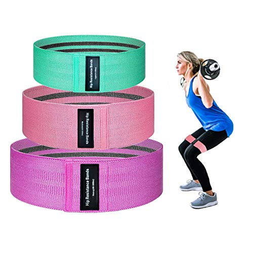 OKF Booty Bands, Resistance Bands for Legs and Butt 3 Pack Set, Non-Slip Elastic Fabric Women or Men Exercise Circle Loops for Fitness, Yoga, Squats
