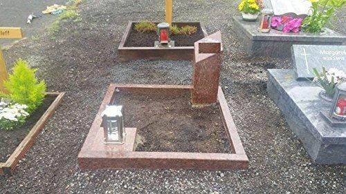 Urnengrabstein mit Grabeinfassung und Stele Grabstein Granit Grabumrandung 100cm x 100cm inklusive Grabsäule Vanga 60cm x 20cm x 20cm