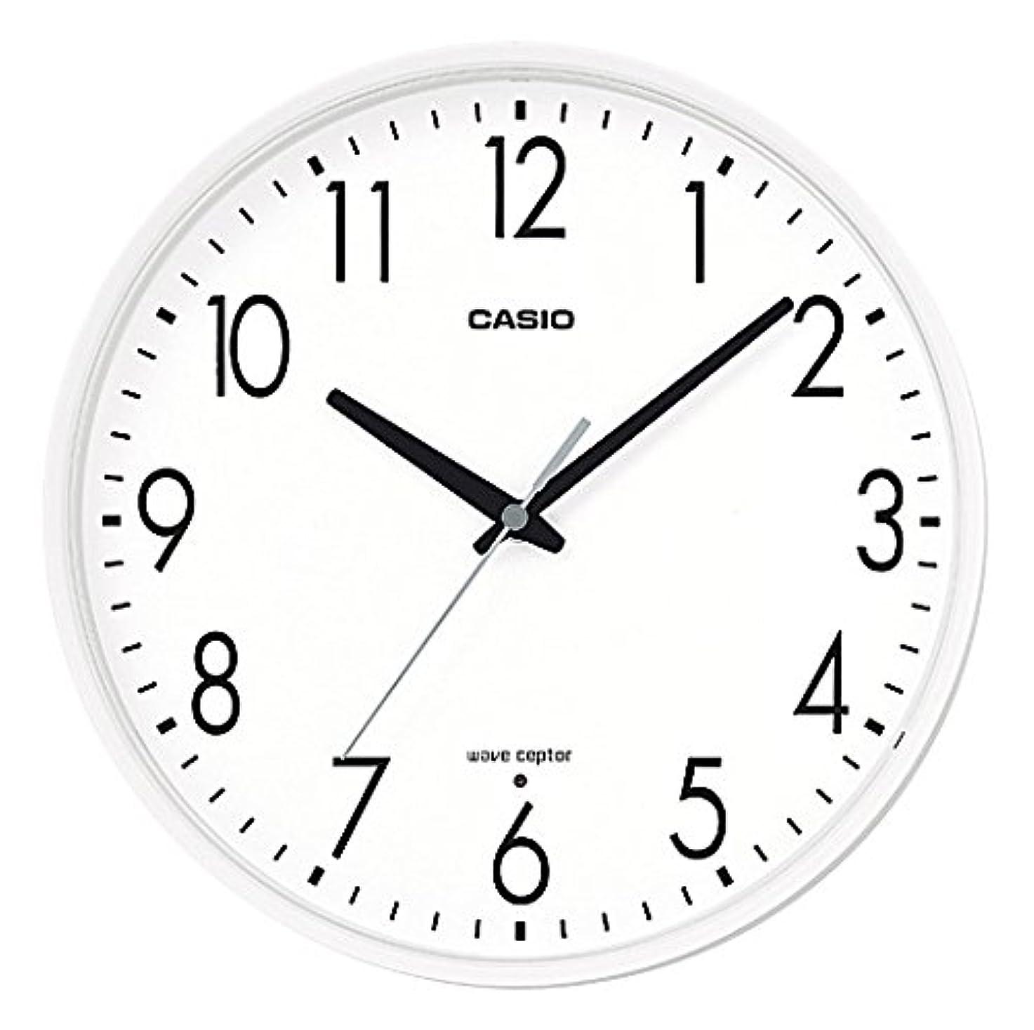 そばに文言のれんCASIO(カシオ) 掛け時計 電波 アナログ ウェーブセプター ホワイト IQ-1070J-7JF