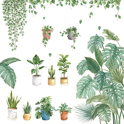 Suprosperウォールステッカー植物北欧緑葉30*90cm4枚南国壁紙鉢植え屋内植物グリーンおしゃれ剥がせる飾り壁画インテリアリビングルーム(北欧植物鉢植え葉)