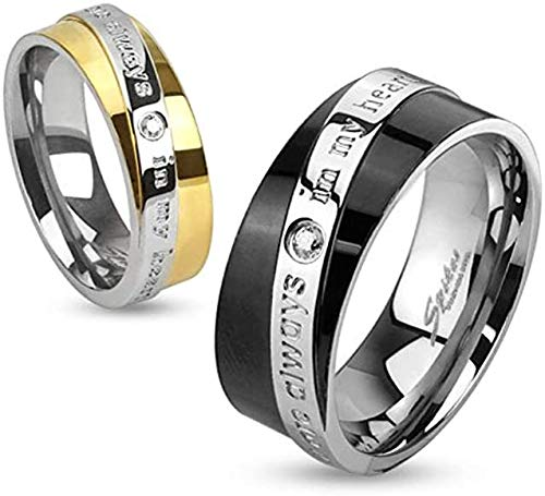 Desconocido You Are Always In My Heart Diagonal Engraved Two Toned Ring Stainless Steel 6mm Size 17