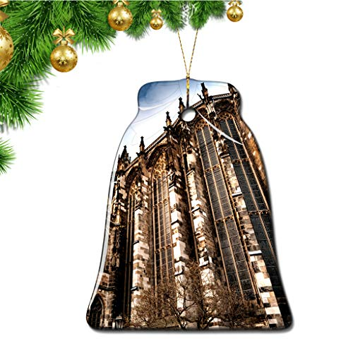 Hqiyaols Ornament Deutschland Aachener Dom Weihnachten Ornamente Bell Form Keramik Souvenir Stadt Reise Geschenk Baum Tür Fenster Decke Zierschmuck Deko