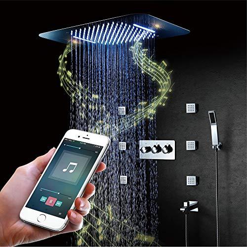 BILLY'S HOME LED-Duschsystem, Intelligente Musik-Bluetooth-Regendusche mit Fernbedienung 580 × 380 mm
