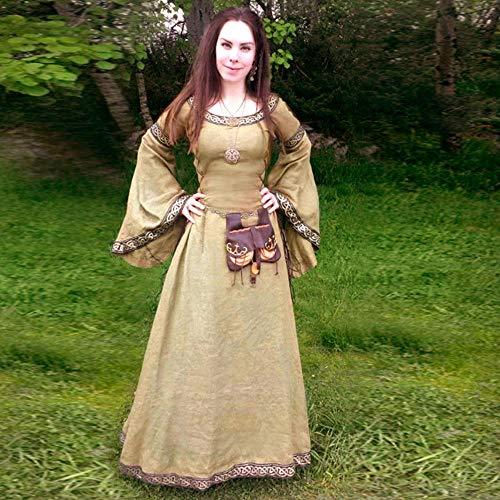 Fnho Vestido Vintage Mujer Medievales,Renacentista Disfraz Medieval para Mujer Vestido,Vestido Medieval, Vestido de Palacio Vintage-Marrn Claro_XL