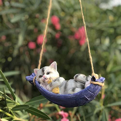 YHK Lazy Gnome Schlafen auf Hängemattenstatue, Fairy Garden Swinging Leaf Hängemattengnome Figur für Rasen Patio Yard Tree Dekorationen (C)