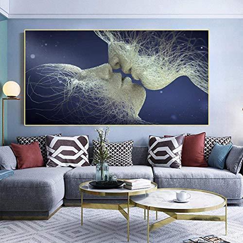 SHKHJBH Kunst das Bild für abstrakte weiße Schwarze Malerei auf Leinwand Liebe Kuss Poster Wandkunst Zimmer Home Bilder 60x120cm kein Rahmen