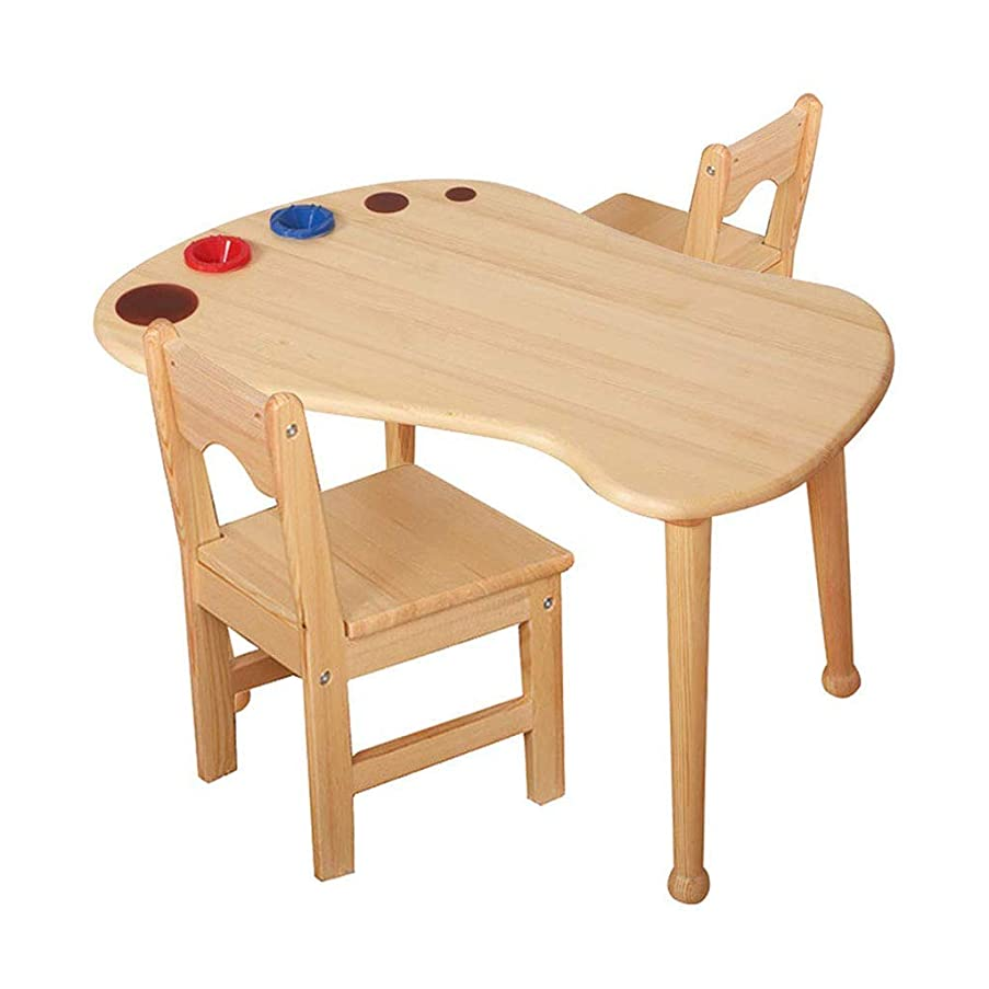 バースト四分円ただ方法純木のテーブル及び椅子、丈夫な木の子供の家具、プレイルーム/保育園/幼児のための純木の子供のテーブル、強い軸受け容量の自然な終わり