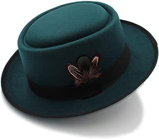 SXQ Classic Wool Round Top Trilby Stingy Brim Feather Cap Felt Black Pork Pie Hat Porkpie Jazz Fedora Hat (Color : Green, Size : 56-58cm)