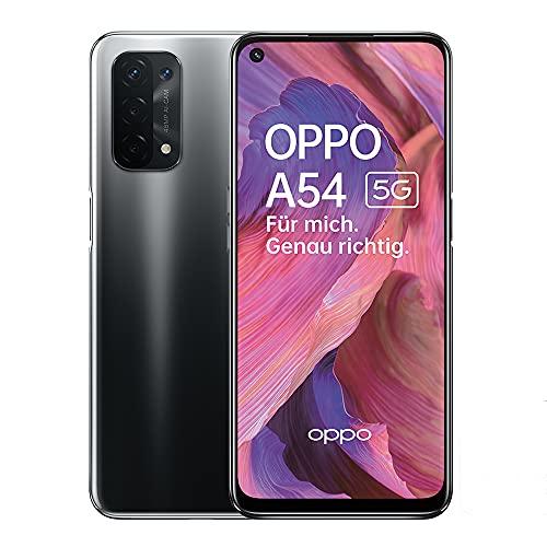 OPPO A54 5G Smartphone, 48 MP KI-Vierfachkamera mit Ultra Nacht Video, 6,5 Zoll 90 Hz FHD+ Neo-Display, 5.000 mAh Akku, 5G-Prozessor, 64 GB Speicher, 4 GB RAM, ColorOS 11.1, Dual-SIM, Fluid Black