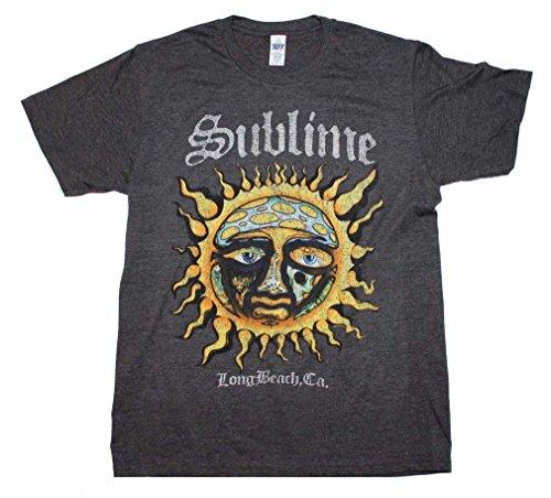 FEA Sublime Logo Stamp Sun Long Beach, CA Soft T-Shirt, Heather (Medium)