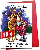 Lustige, humorvolle Weihnachtskarten mit Umschlag im 10er Set, Motiv »Oh du fröhliche…«, für private und geschäftliche Weihnachtsgrüße, als Postkarte oder Geschenkkarte verwendbar, Größe XL