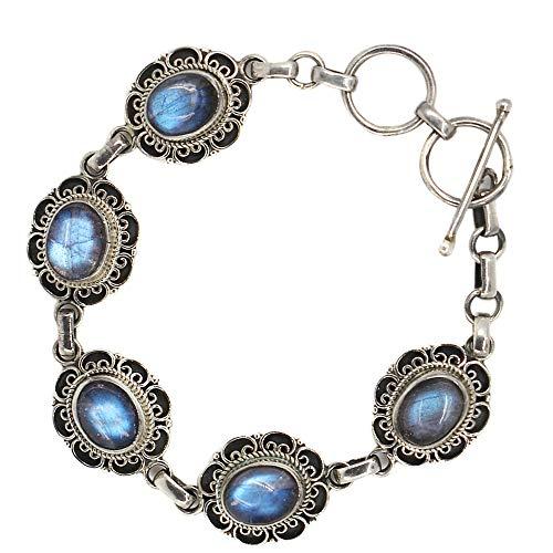 Luna Azure Oval Form Labradorit Edelsteine 925 Sterling Silber Hand Kette Armreif 7,5