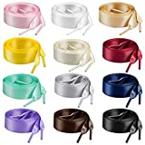 Marrywindix 12 Pairs 47' Flat Satin Ribbon Shoelaces Colorful Silk Shoestrings Wide Shoe Laces for Sneakers Skate Shoes Boots Sport Shoes (12 Colors)