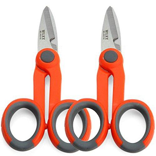 2Pcs Electrical Scissors,Fiber Optic Shears Wire Cable Cutter Scissors (5.5-Inch)