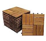 SAM Terrassenfliese 02 Akazien-Holz, 22er Spar-Set für 2m², 30x30cm, Bodenbelag, Drainage, Garten Klick-Fliese