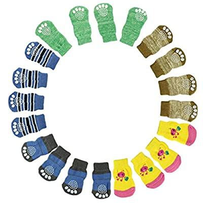 Malloom Random Color 4Pcs Cute Puppy Dogs Pet Knit Socks Anti Slip Bottom Sock
