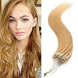 60cm - Extensiones Keratina Micro Anillos Pelo Natural 100% Cabello Humano 100 Mechas 50g Remy Human Hair - 24# Rubia Natural