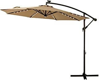 FLAME&SHADE 10' Offset Cantilever Hanging Umbrella with Solar LED Lights for Large Outdoor Patio Table Balcony Poolside Deck Garden, Beige