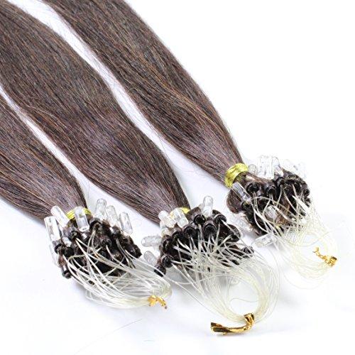 hair2heart 200 x 1g Echthaar Microring Loop Extensions, 60cm - glatt - #2 dunkelbraun - Loops Haarverlängerung