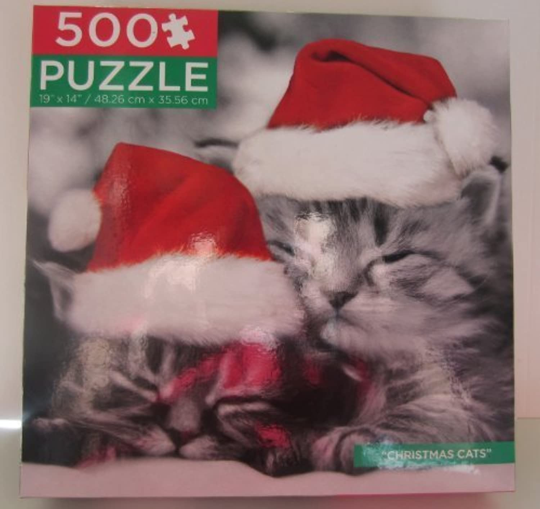 Black & White  Christmas Cats  Keith Kimberlin 500 Piece Puzzle by Keith Kimberlin