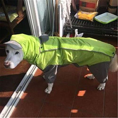 SDCVRE Impermeable,Chaqueta Impermeable con Capucha Grande para Perros Poncho Grande para Mascotas Ropa de Lluvia para Perros Ropa Impermeable para Perros Golden Retriever, Verde, 24