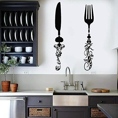 HGFDHG Vinilo Pared Cubiertos Cocina decoración Pared hogar Restaurante decoración Interior diseño Arte Mural