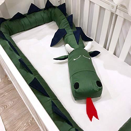 GLITZFAS Bettumrandung Baby Nestchen Kinderbett Stoßstange Weben Bettumrandung Kantenschutz Kopfschutz für Babybett 200cm Länge (Grün)