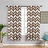 Cortinas de color marrón para dormitorio clásico y de moda Chevron zigzag patrón ondas geométricas estilo retro azulejos fácil de limpiar marrón y marrón marrón y marrón 63 x 63 pulgadas