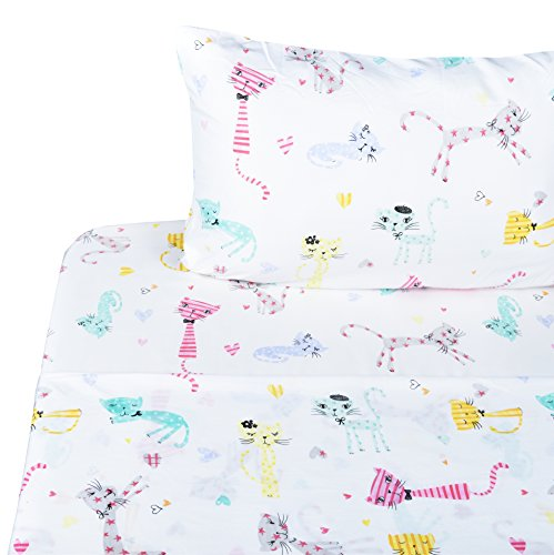 Scientific Sleep Cute Kitty Cats Soft Sheets Set Full, 100% Microfiber Polyester Bedding Sheet Set for Girls Gift (6, Full)