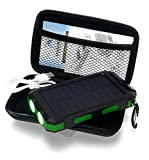Waterproof Solar Cell Phone Charger, USB Solar Battery Charger, Solar Battery Pack, Battery Backup Portable Power for with Protective Carry Case. 2 USB Charging Ports. Charging Cord Included. Green.