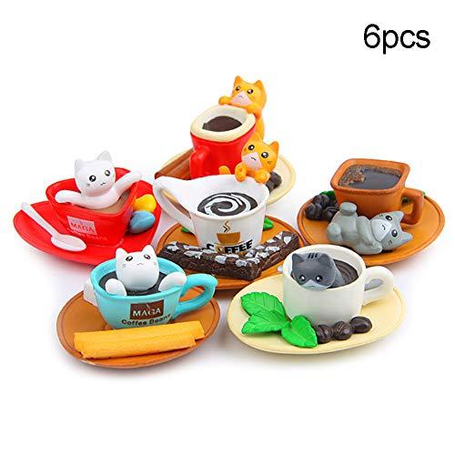 Sytaun 6 Teile/Satz Kaffeetasse Toast Katzen Figuren Handwerk Miniatur Fee Garten Decor EIN Klassisches Spielzeug Für Geist Und Körper 6 Stück