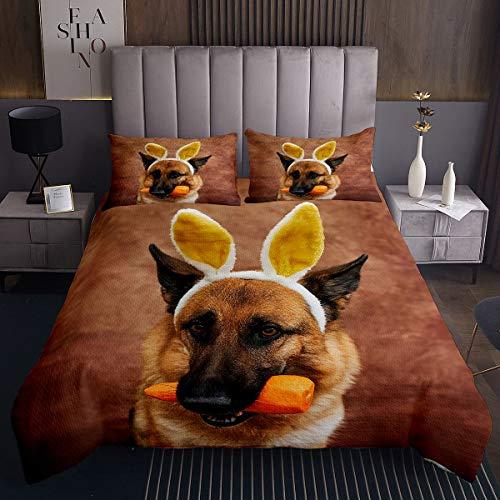 Colcha de perro 3D para niños y niñas, diseño de perro lobo acolchado, 2 unidades de tamaño individual