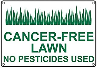 Weatherproof Plastic Cancer-Free Lawn No Pesticides Used Sign with English Text and Symbol
