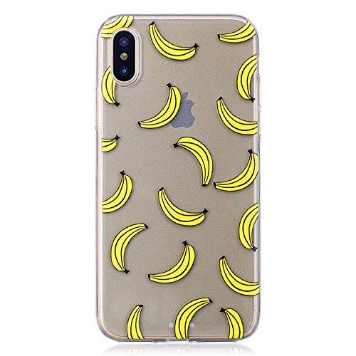 COZY HUT Custodia iPhone X Cover, Silicone Trasparente Morbida Clear Gel Caso, Ultra Slim Antiurto Anti-Graffio Bumper Case Cover per iPhone X - Banana