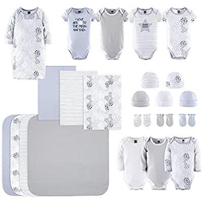 The Peanutshell Newborn Layette Gift Set for Baby Boys or Girls   23 Piece Newborn Clothes & Accessories Set in Blue, Grey