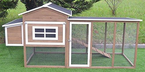 "Omitree Large 87"" Wood Chicken Coop Backyard Hen House 4-6 Chickens Nesting Box & Run"