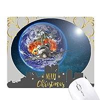 カラフルな惑星地球の宇宙船 クリスマスイブのゴムマウスパッド