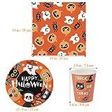 BESTonZON Halloween-Papiergeschirrset, Einwegbesteckset, Partyzubehör-Set 24, Inklusive Pappteller, 48 Servietten und 24 Tassen Geschirrset - 4