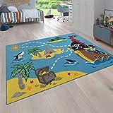 Paco Home Kinder-Teppich Für Kinderimmer, Spiel-Teppich Mit Schatzinsel Und Pirat, In Bunt, Grösse:Ø 200 cm Rund