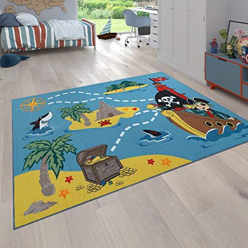 Alfombra para niños, Alfombra de Juego para Habitaciones de niños, La Isla del Tesoro y el Pirata, En Color, tamaño:120x160 cm