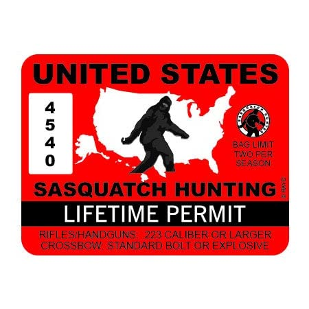 "RDW United States Sasquatch Hunting Permit - Color Sticker - Decal - Die Cut - Size: 4.00"" x 3.00"""